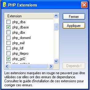 Choix des extensions PHP