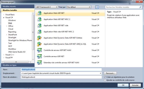 Nouveau projet ASP.NET