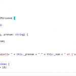 Exemple d'un code TypeScript
