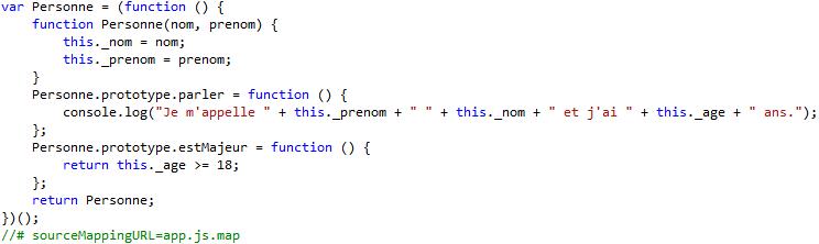Le même code retranscrit en Javascript