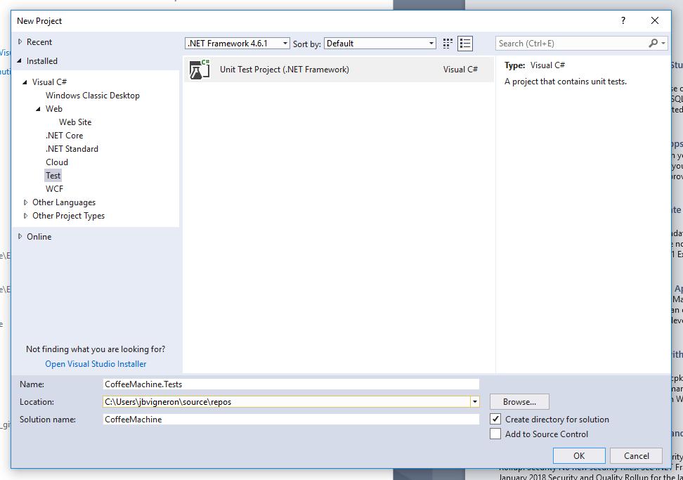 Capture d'écran - Création du projet de tests unitaires dans Visual Studio