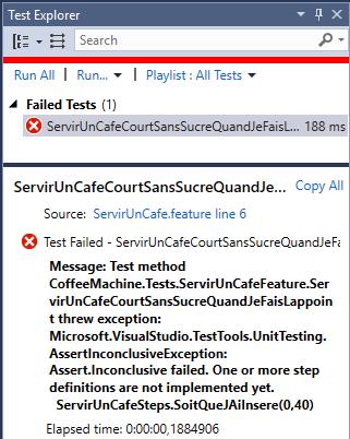 Capture d'écran - Echec du premier test Specflow